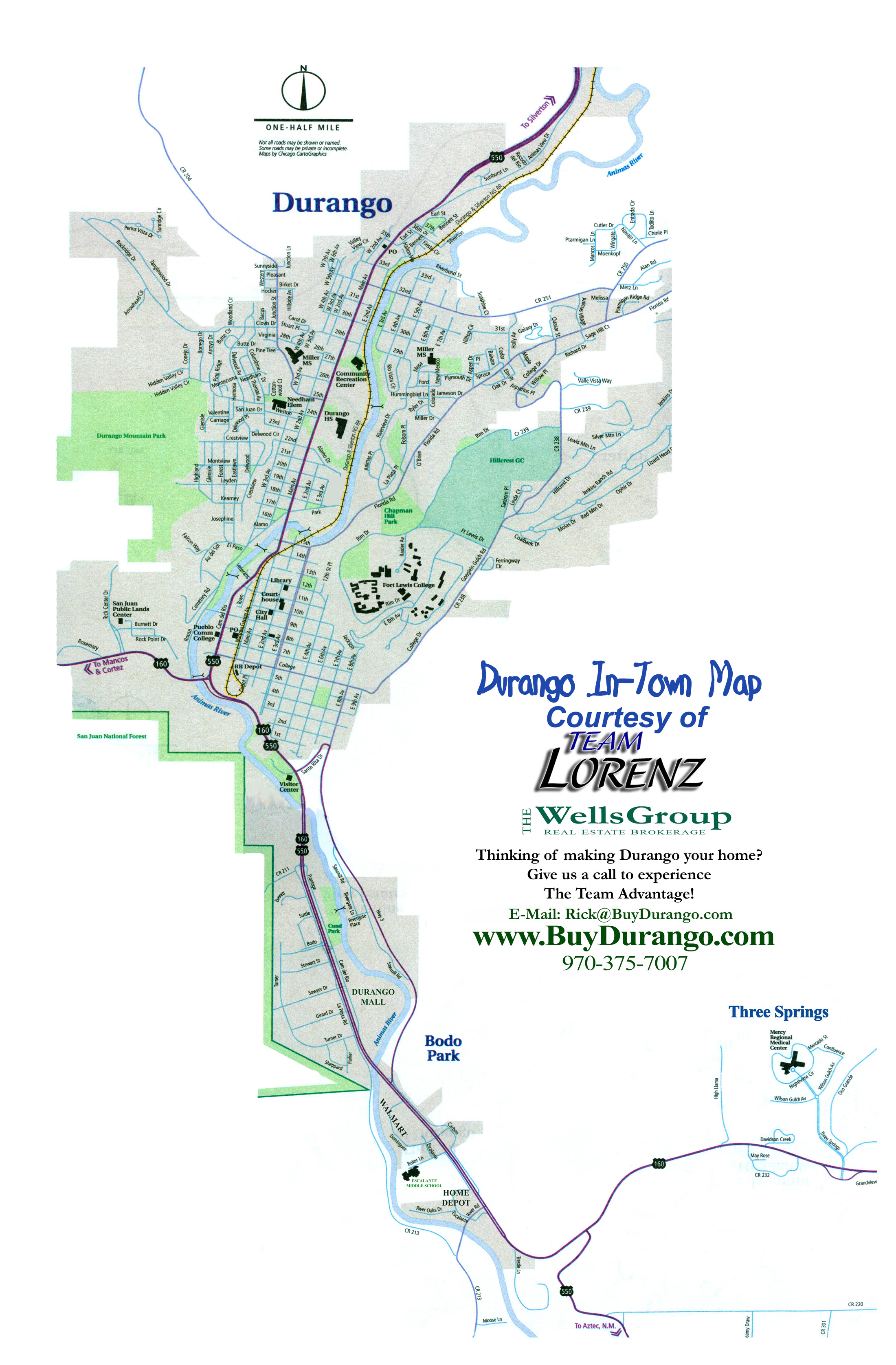 Pagosa Springs Co >> Durango City Map