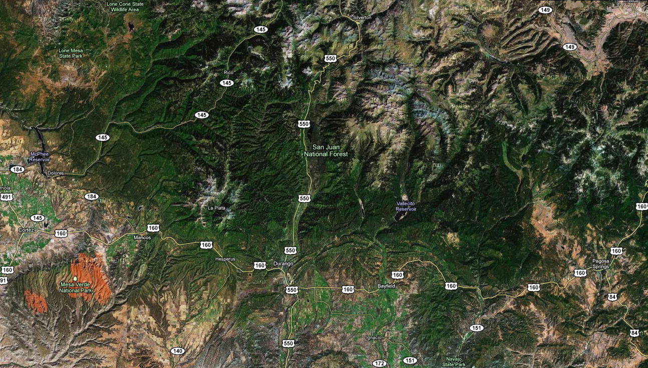 Satellite Map Of Southwest Colorado