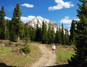Hiker on La Plata Trail Durango CO