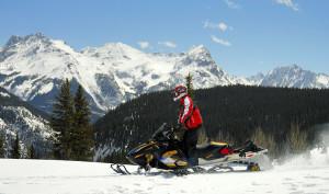 Snowmobile at Molas Pass north of Durango CO