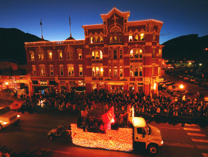 Strater Hotel and parade float Durango CO