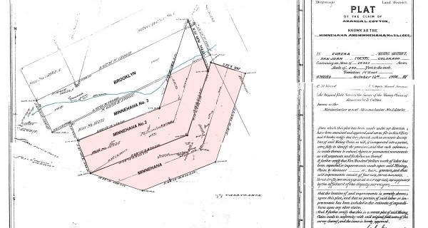 Patented mining claims minnehaha and Minnhaha2 and Mini 3 and Broklyn mineral plat