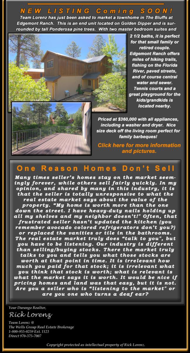 Durango Real Estate e-newsletter July 2016 new listing