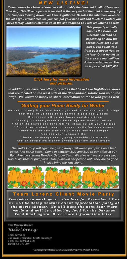 Durango CO real estate statistics e-newsletter-october-2016-bottom-half-new-listing