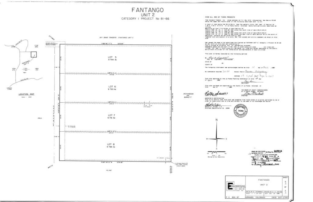 Durango CO Real Estate 157 Fantango Road plat map